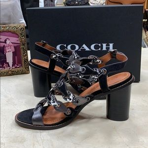 COACH LINK MID HEEL SANDAL IN SUEDE AND EXOTICS
